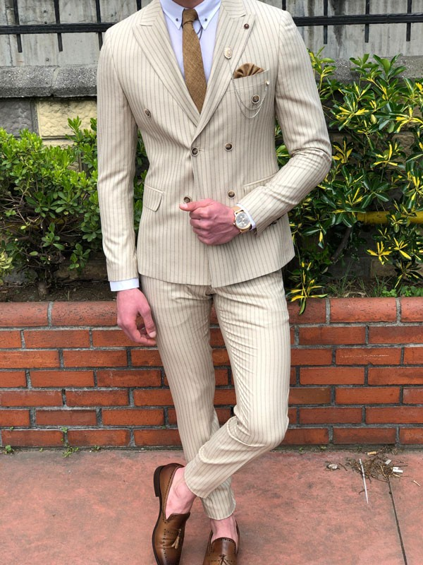 Beige Striped Double Breasted Suit by GentWith.com | Free Shipping