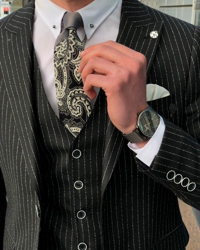Black Slim Fit Striped Suit by GentWith.com with Free Shipping