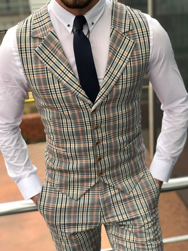 Plaid Check Slim Fit Vest and Pants by GentWith.com | Free Shipping