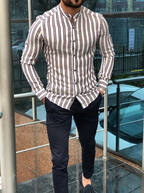 Orange Slim Fit Striped Casual Shirt by GentWith.com | Free Shipping