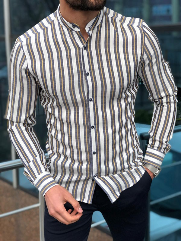 Yellow Slim Fit Striped Casual Shirt by GentWith.com | Free Shipping