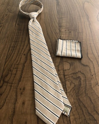 Beige Striped Wool Tie by GentWith.com with Free Shipping