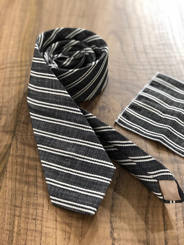 Black Striped Wool Tie by GentWith.com with Free Shipping