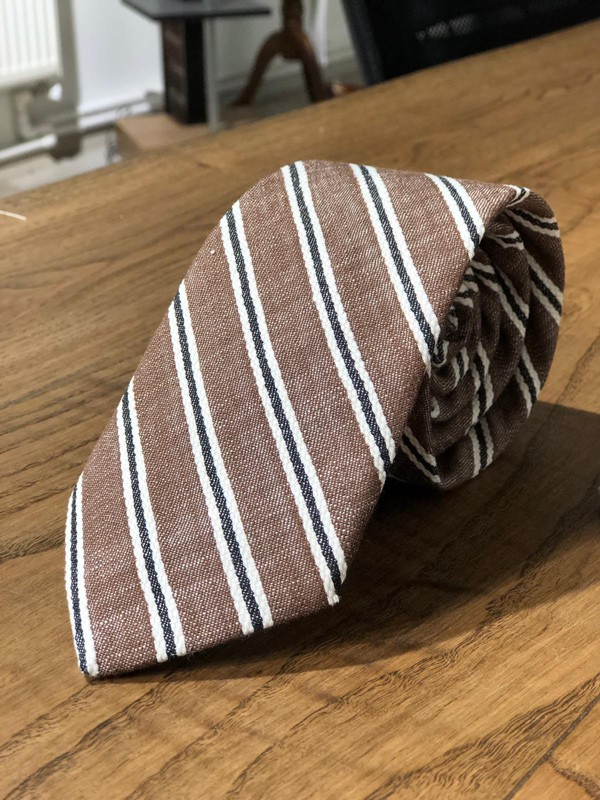 Brown Striped Wool Tie by GentWith.com with Free Shipping