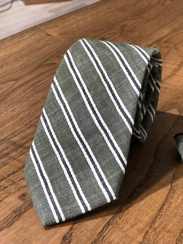 Khaki Striped Wool Tie by GentWith.com with Free Shipping