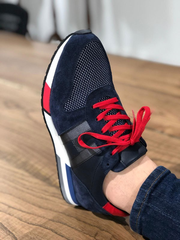 Navy Blue Lace up Sneakers by GentWith.com with Free Shipping