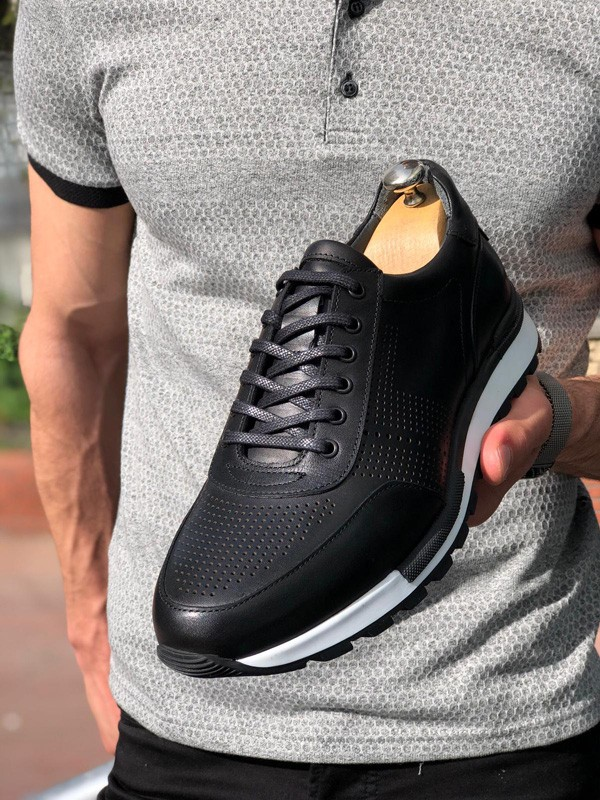 Black Tassel Laced Sneakers by GentWith.com with Free Shipping