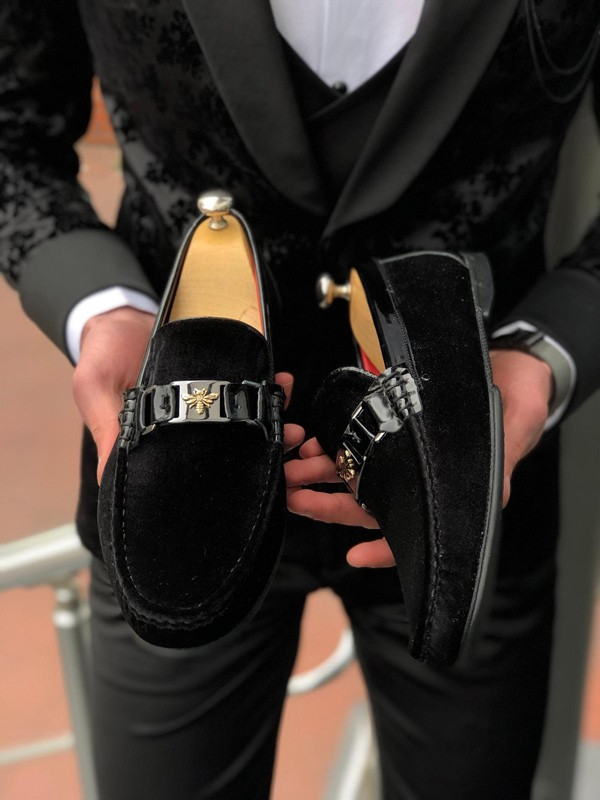 Black Suede Buckle Loafer by GentWith.com with Free Shipping