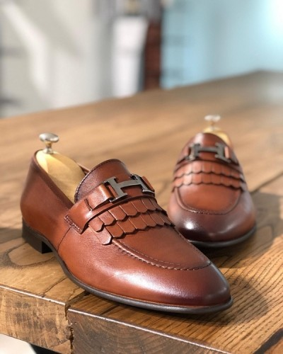 Tan Kilt Buckle Loafer by GentWith.com with Free Shipping