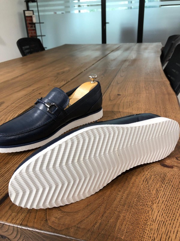 Navy Blue Leather Loafer by GentWith.com with Free Shipping