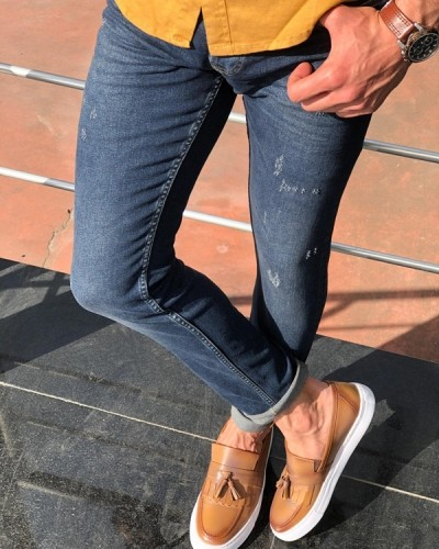 Navy Blue Distressed Jeans by GentWith.com with Free Shipping