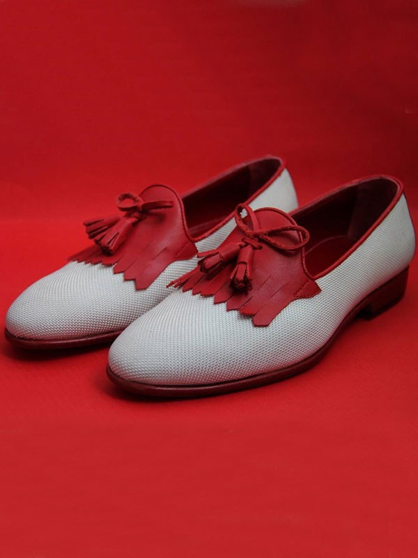 Red Bespoke Kiltie Tassel Loafer by Gentwith.com with Free Shipping