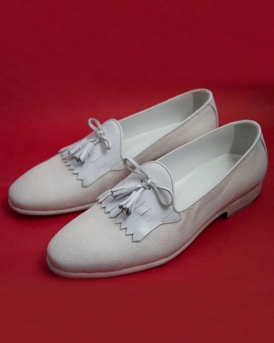 White Bespoke Kiltie Tassel Loafer by Gentwith.com | Free Shipping