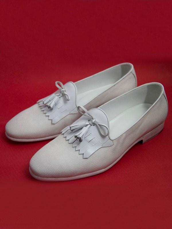 White Bespoke Kiltie Tassel Loafer by Gentwith.com   Free Shipping