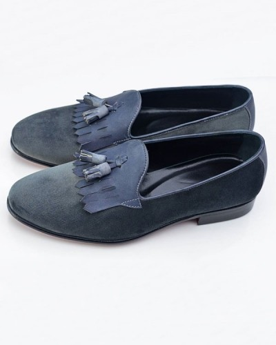 Blue Bespoke Suede Tassel Loafer by GentWith.com | Free Shipping