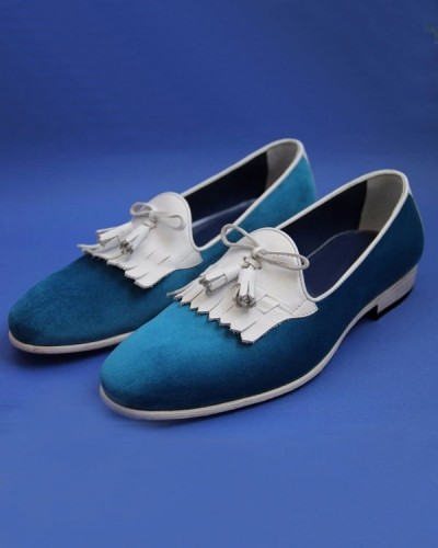 Turquoise Bespoke Suede Kiltie Tassel Loafer by GentWith.com