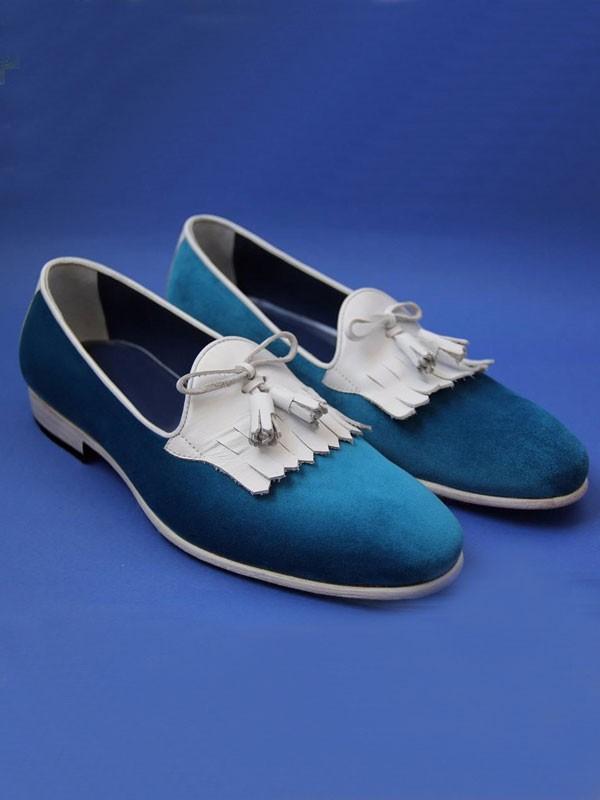 Turquoise Bespoke Suede Kiltie Tassel Loafer by GentWith.com
