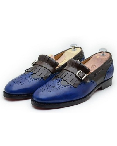 Blue Bespoke Kilt Loafer by Gentwith.com with Free Shipping