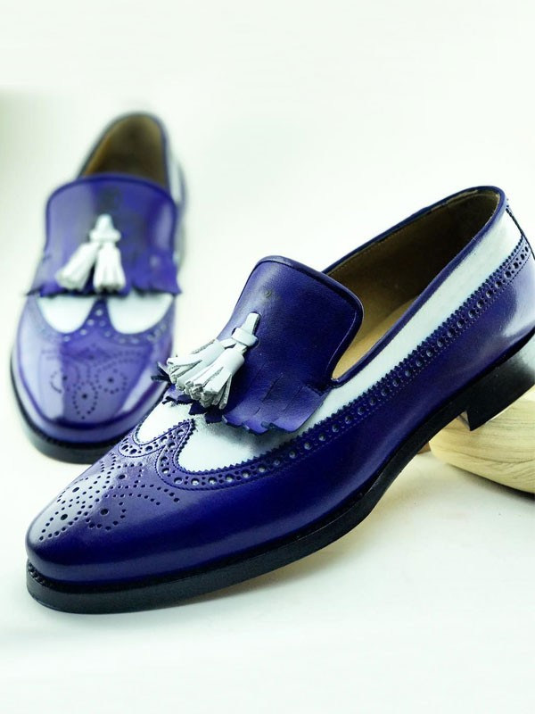 Blue Bespoke Kiltie Tassel Loafer by Gentwith.com with Free Shipping