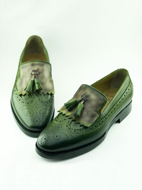 Green Bespoke Kiltie Tassel Loafer by Gentwith.com | Free Shipping