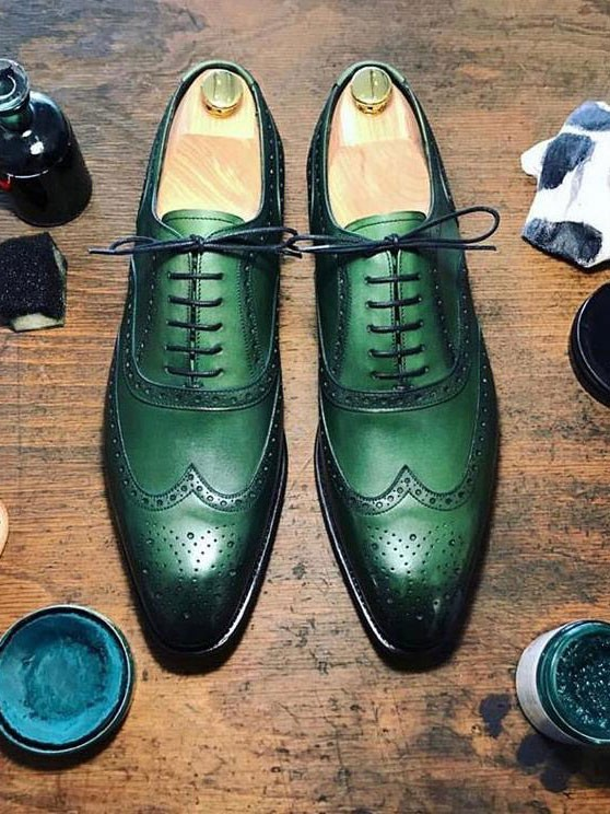 Green Lace Up Oxford by Gentwith.com with Free Shipping