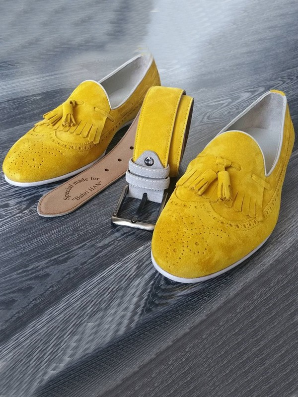 Yellow Suede Kiltie Tassel Loafer by Gentwith.com with Free Shipping