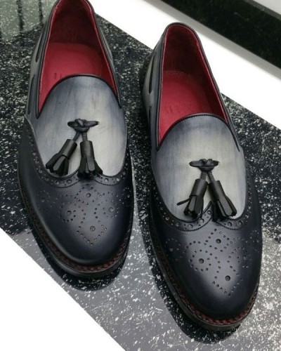 Black Bespoke Tassel Loafer by Gentwith.com with Free Shipping