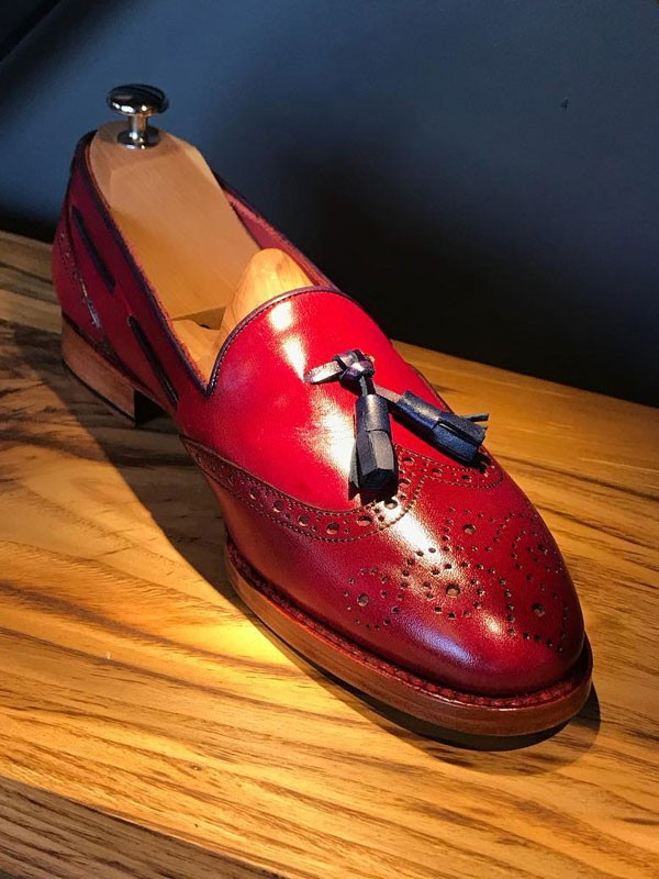 Red Bespoke Tassel Loafer by Gentwith.com with Free Shipping