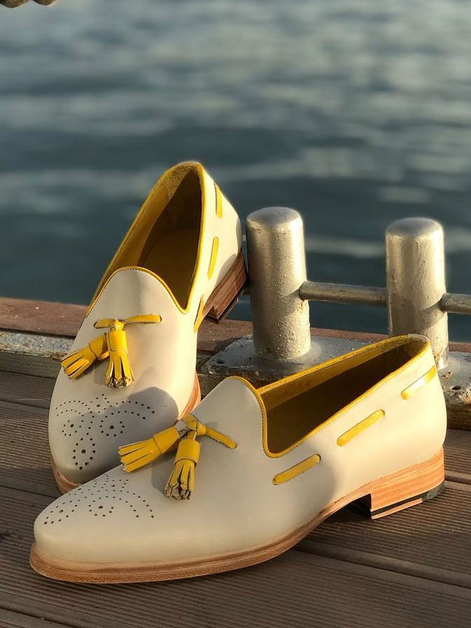 837c38326 Buy Yellow Bespoke Tassel Loafer by Gentwith.com with Free Shipping