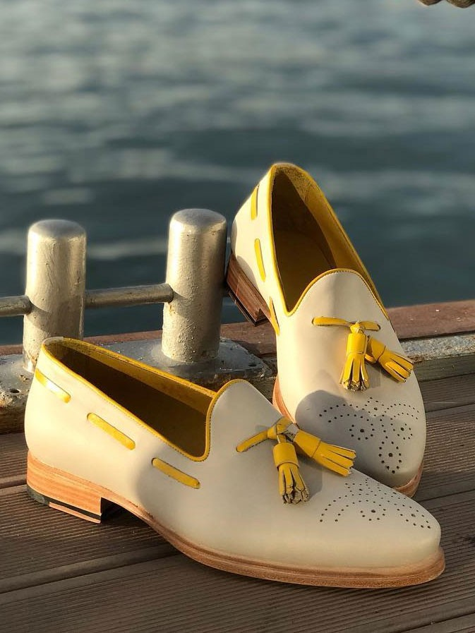 Yellow Bespoke Tassel Loafer by Gentwith.com with Free Shipping