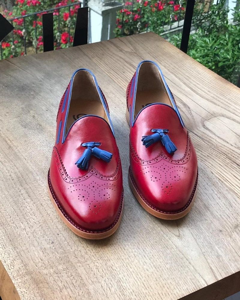 Red Genuine Leather Wingtip Tassel Loafers by GentWith.com with Free Worldwide Shipping