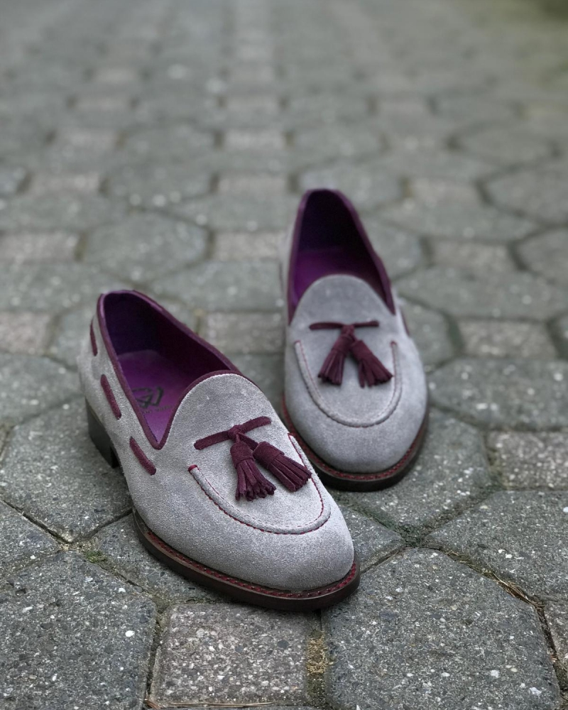 Handmade Gray Genuine Suede Leather Tassel Loafers by GentWith.com with Free Worldwide Shipping