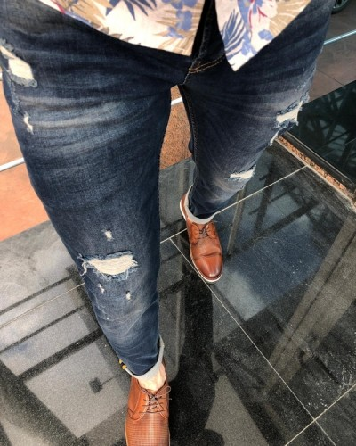 Navy Blue Slim Fit Distressed Jeans by GentWith.com | Free Shipping