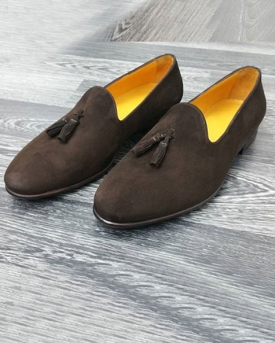 Brown Bespoke Suede Tassel Loafer by Gentwith.com | Free Shipping