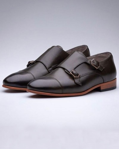 Black Double Monk Strap by Gentwith.com with Free Shipping