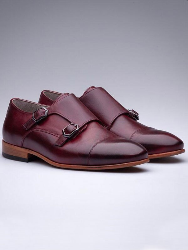 Burgundy Double Monk Strap by Gentwith.com with Free Shipping