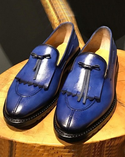 Blue Kilt Loafer by Gentwith.com with Free Shipping