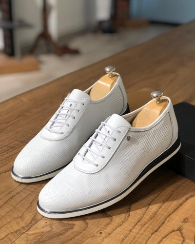 White Laced Sneakers by GentWith.com with Free Shipping