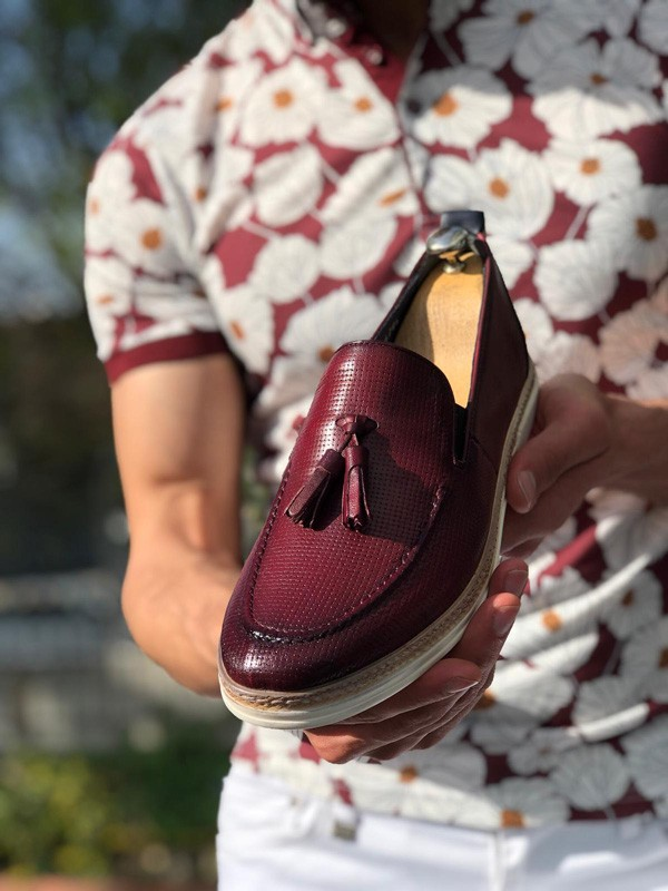 Claret Red Tassel Loafer by GentWith.com with Free Shipping