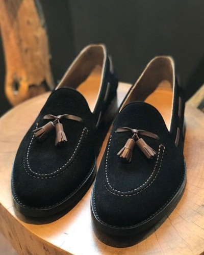 Black Suede Tassel Loafer by Gentwith.com with Free Shipping