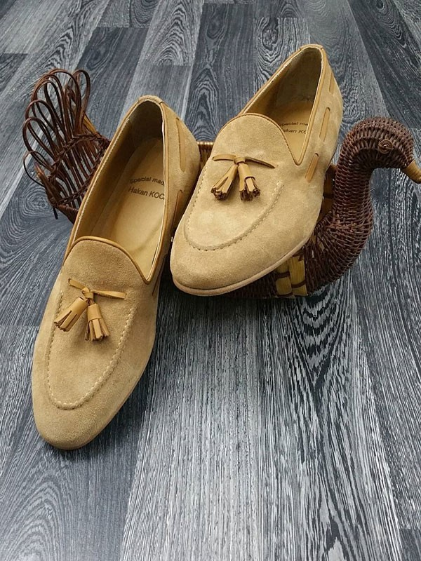 Camel Suede Tassel Loafer by Gentwith.com with Free Shipping