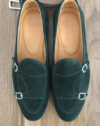 Green Suede Monk Strap by Gentwith.com with Free Shipping
