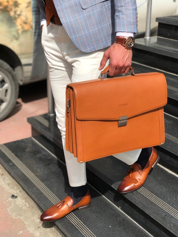 Brown Leather Briefcase by GentWith.com with Free Shipping