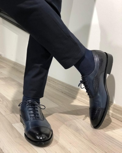 Navy Blue Cap Toe Oxford by GentWith.com with Free Shipping