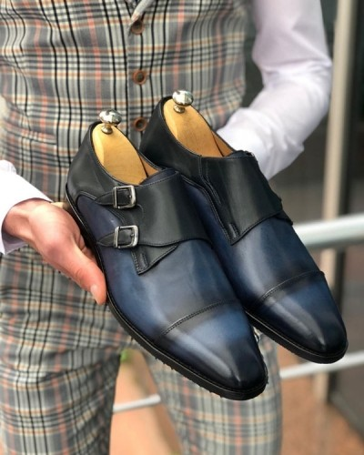 Navy Blue Double Monk Strap by GentWith.com with Free Shipping