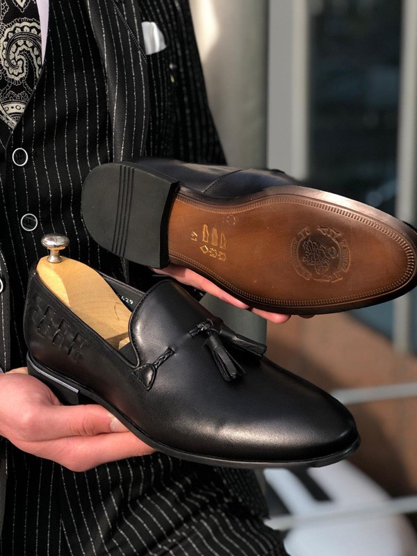 Black Tassel Loafer by GentWith.com with Free Shipping