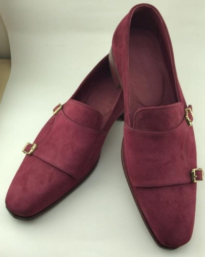 Claret Red Bespoke Suede Double Monk Strap by GentWith.com with Free Shipping