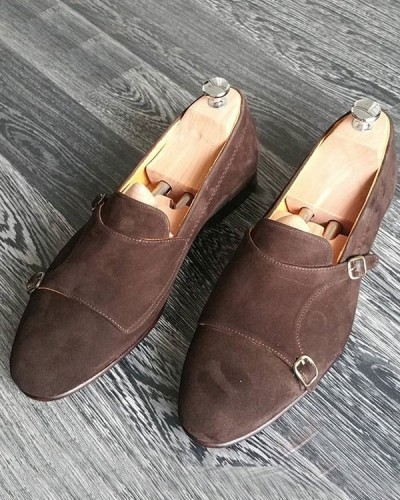 Brown Bespoke Suede Double Monk Strap by GentWith.com with Free Shipping