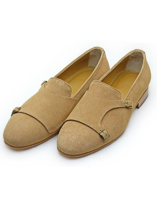 Camel Bespoke Suede Double Monk Strap by GentWith.com with Free Shipping