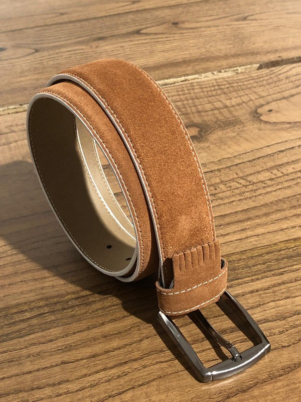 Cinnamon Suede Leather Belt by GentWith.com with Free Shipping